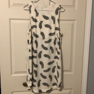 H&M Feather Print Off-white Dress